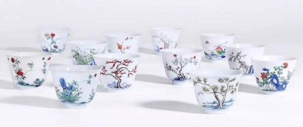 清康熙 五彩十二花神杯一组十二件 RMB 23,920,000