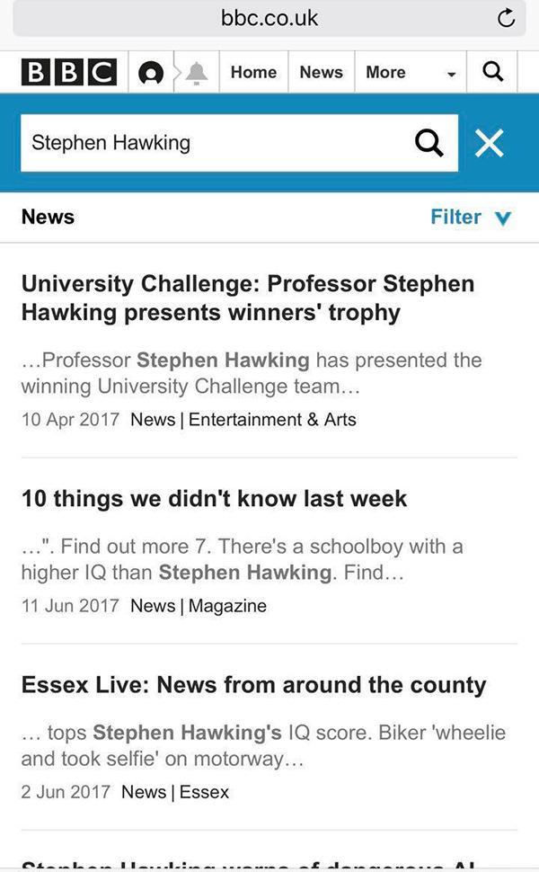 BBC新闻搜索霍金