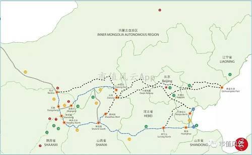 (注:2011年3月25日分布图,蓝色为中国神华自有铁路、暗色为国有铁路,片面资产项现在未在上图表现)
