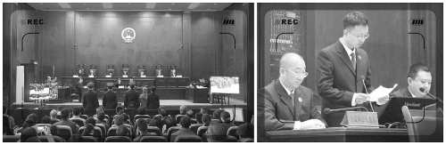 左:案件庭审现场;右:检察官行为公好诉讼代外人出庭