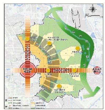 """向阳区将构建""""两轴两带三区""""的城市空间组织。"""