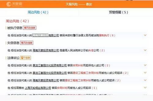 曹波的周边风险多达42条 第三方网站截图