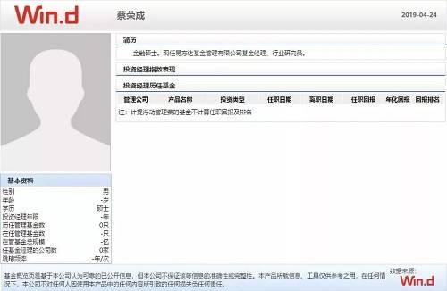 "Wind数据显示,蔡荣成系金融硕士毕业,现任易方达基金公司基金经理、行业研究员。但其尚未运作过任何一只基金,易方达科技创新混合基金将是是他的""首秀""。"