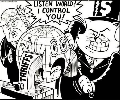 """【极限施压】地球受到美国""""关税""""机器挤压,情况越来越糟糕。美国总统特朗普在旁边说:""""世界听着!我控制你了!""""(美国报刊漫画家协会网站)"""