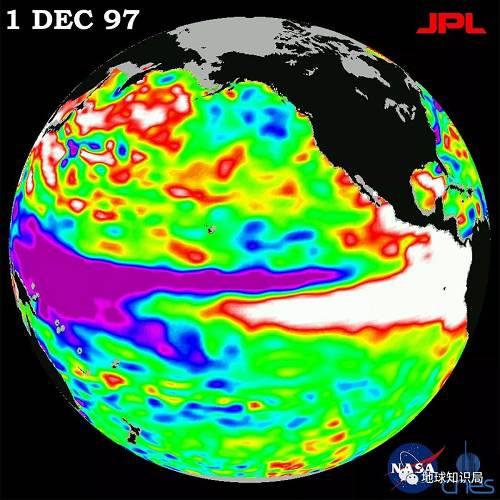 1997年由TOPEX/Poseidon卫星不都雅测到的厄尔尼诺事件南美和北美赤道区域海岸外的白色区域黑示暖水汇集(图片来自wikipedia)