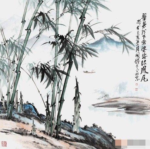 竹子的特点:李国胜竹子山水画配诗韵味绵长引人深思!