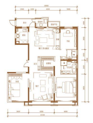 168㎡三室两厅两卫户型图