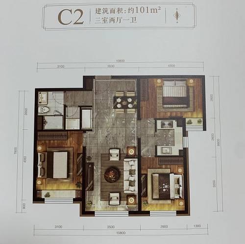 101平三室两厅一卫户型图