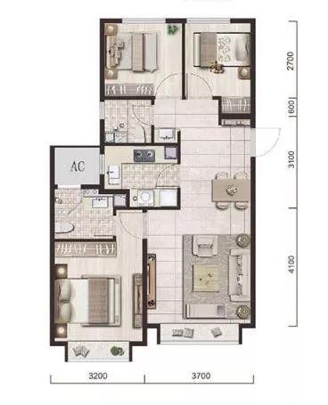 89�O3室2厅2卫1厨户型图