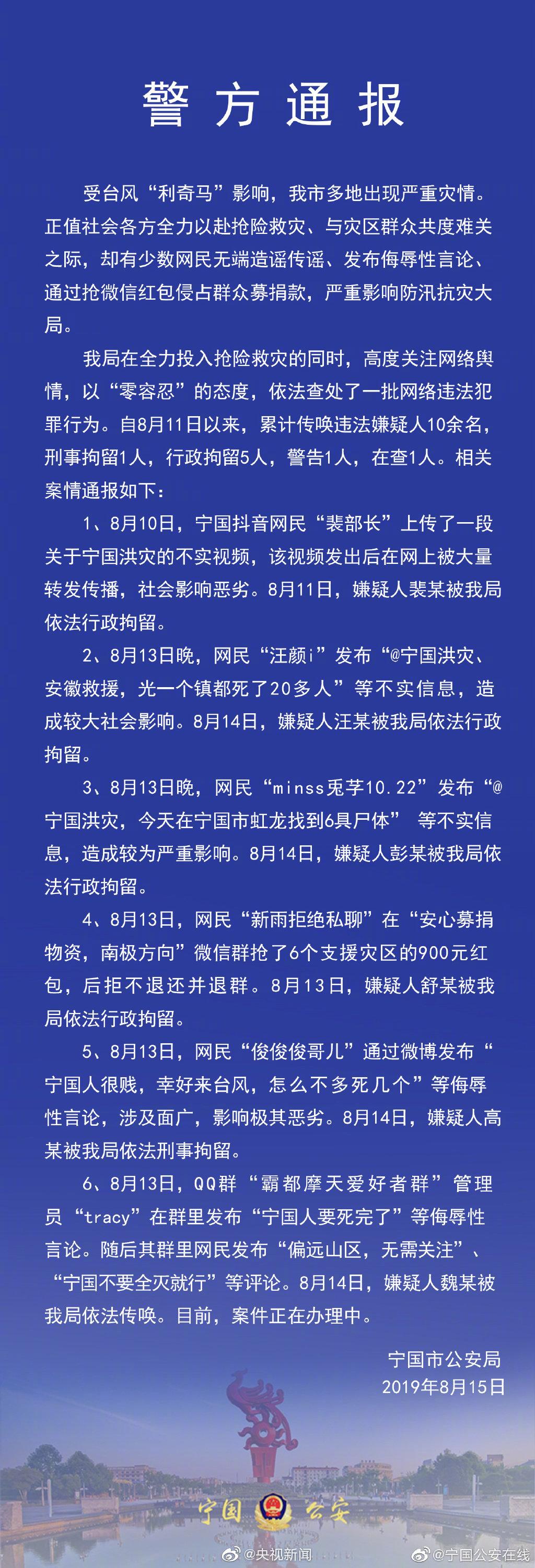 原标题:宁国公安在线 通报:造谣传谣零容忍!警方依法传唤10余名违法嫌疑人