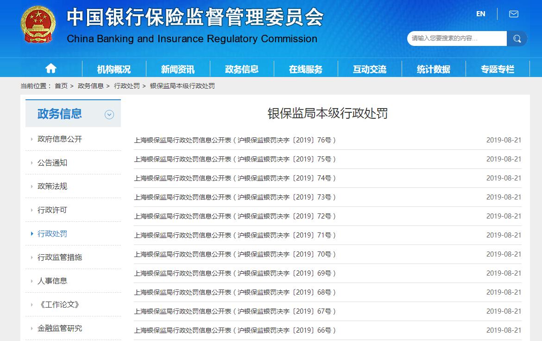 上海银保监局一日公布11张罚单 共计罚款670万元