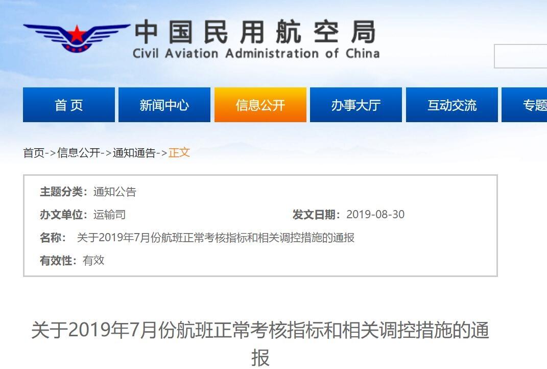<b>7月航班正常率不达标多家航司机场被通报批评</b>