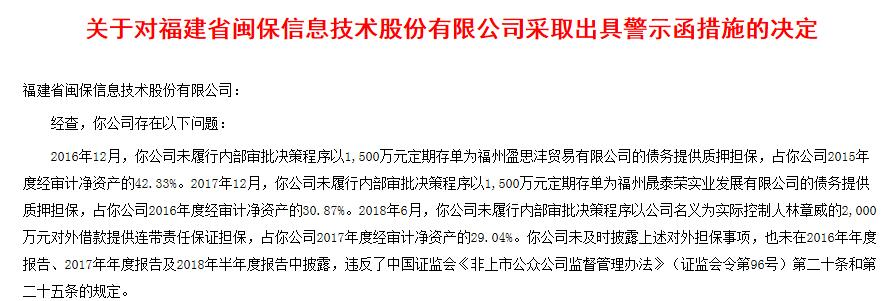 闽保股份三年三次5000万违规担保案被监管出具警示函 广发证券为主办券商