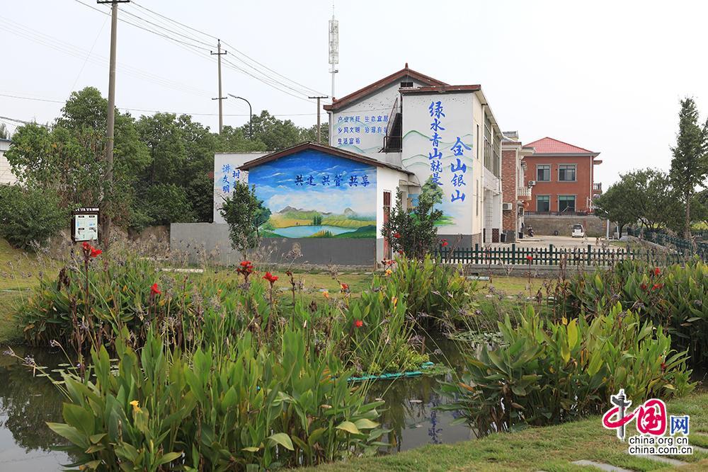 """在长沙市望城区靖港镇复胜村一户民居的墙上,""""绿水青山就是金山银山""""的标语在清澈的沟渠边格外显眼。中国网记者 伦晓璇 摄"""