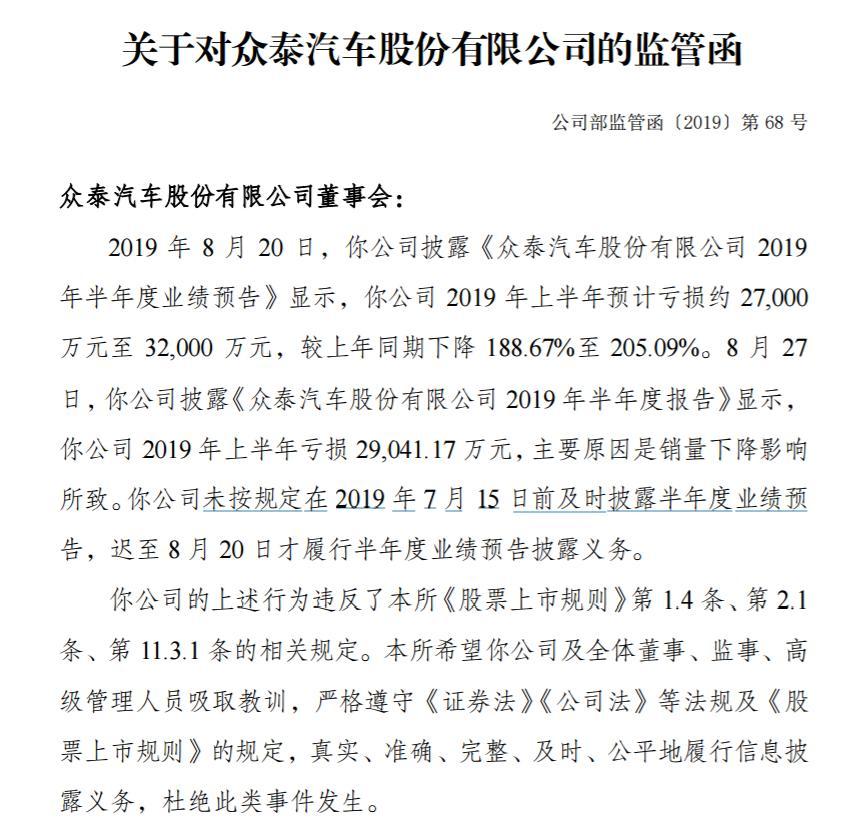 今日股市财经新闻众泰汽车因未及时披露半年度业绩预告 收到深交所监管函