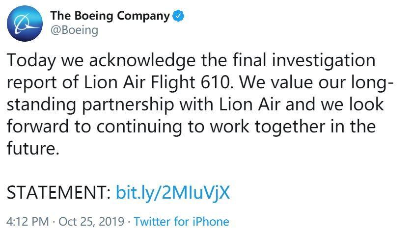 <b>波音就印尼狮航610航班调查最终报告发表声明</b>