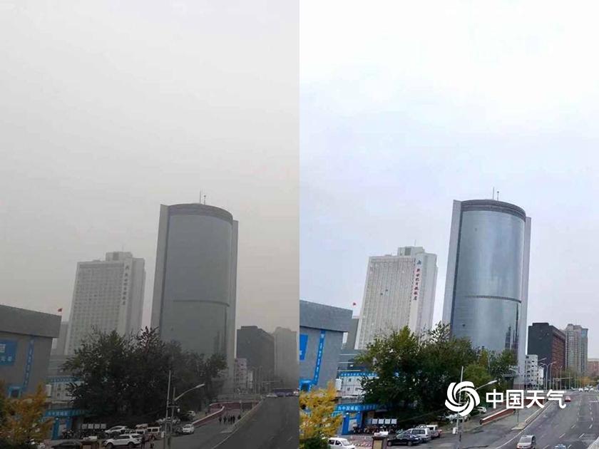 冷空气前后对比 北京同一片天空下的灰与蓝