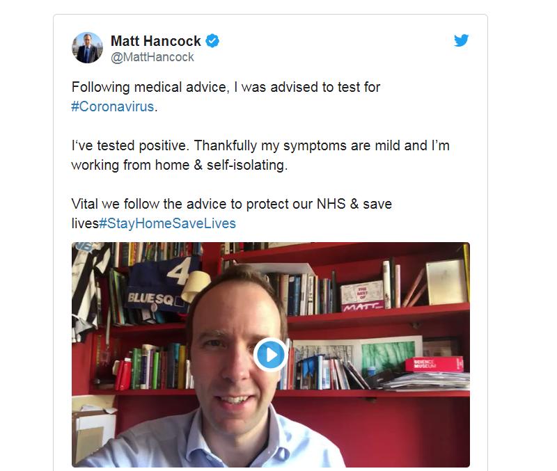 英国卫生大臣汉考克称自己新冠肺炎检测呈阳性