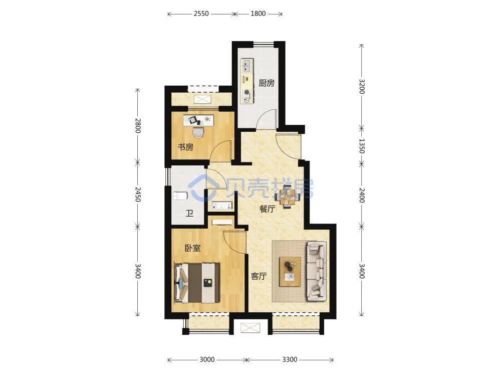 70�O2室2厅1卫户型图(来源:贝壳找房)