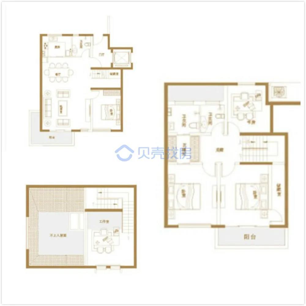 170�O5室2厅3卫户型图(来源:贝壳找房)