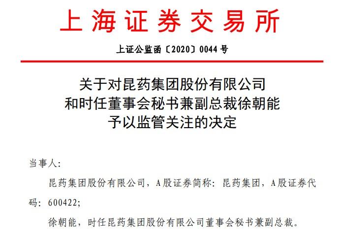 """又见回购""""放鸽子""""!昆药集团股份回购金额仅为下限16%,董秘徐朝能被监管关注"""
