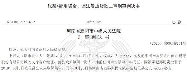 监守自盗!套取单位60万资金供亲友使用 范县农商银行前员工二审获改判