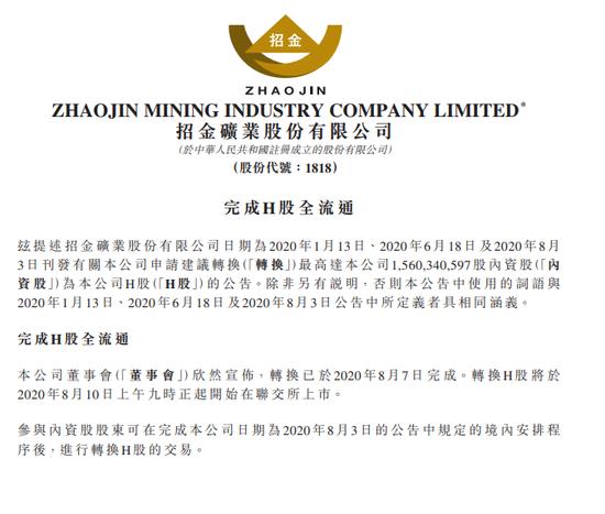 招金矿业:15.6亿股内资股转换为15.6亿股H股