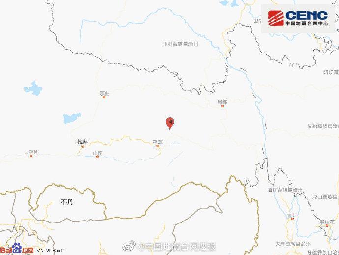 西藏林芝市波密县发生3.9级地震 震源深度10千米