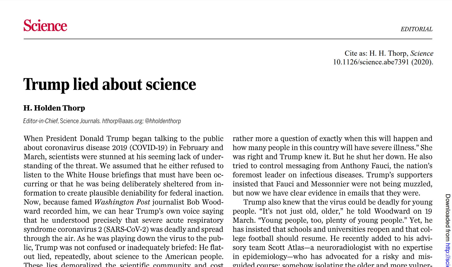 《科学》杂志总编辑社论:特朗普撒谎了