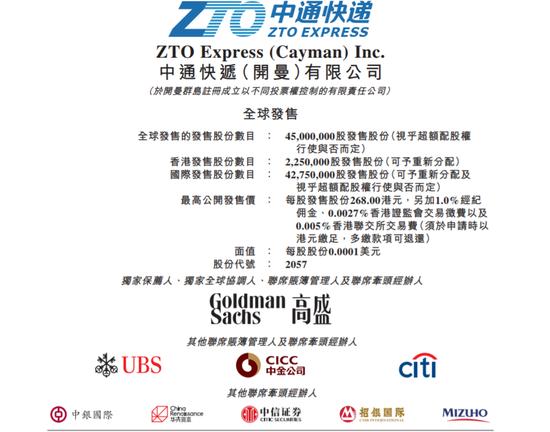 中通快递港股拟发售4500万股股份预计9月29日上市