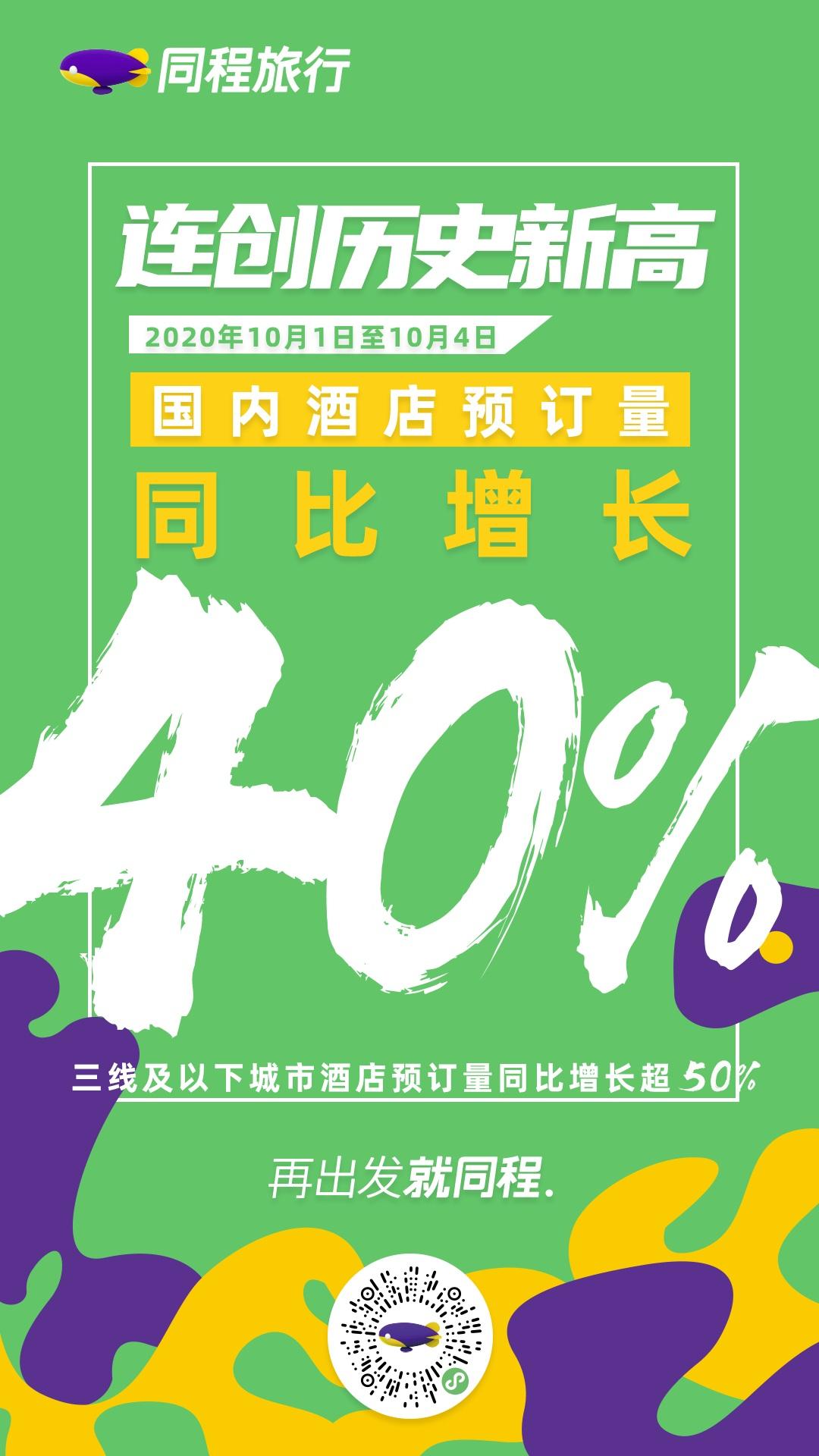 黄金周酒店业复苏 同程艺龙酒店预订量同比增长超40%