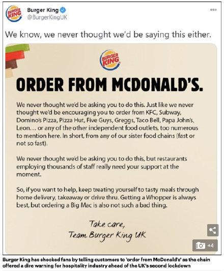 英国汉堡王呼吁人们去麦当劳点餐,原因是英国新冠疫情再次爆发,希望顾客们共同支持餐饮企业运营