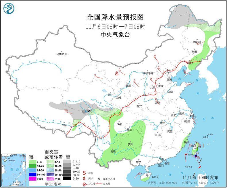 """台风""""艾莎尼""""将移入南海东北部 冷空气影响北方地区"""