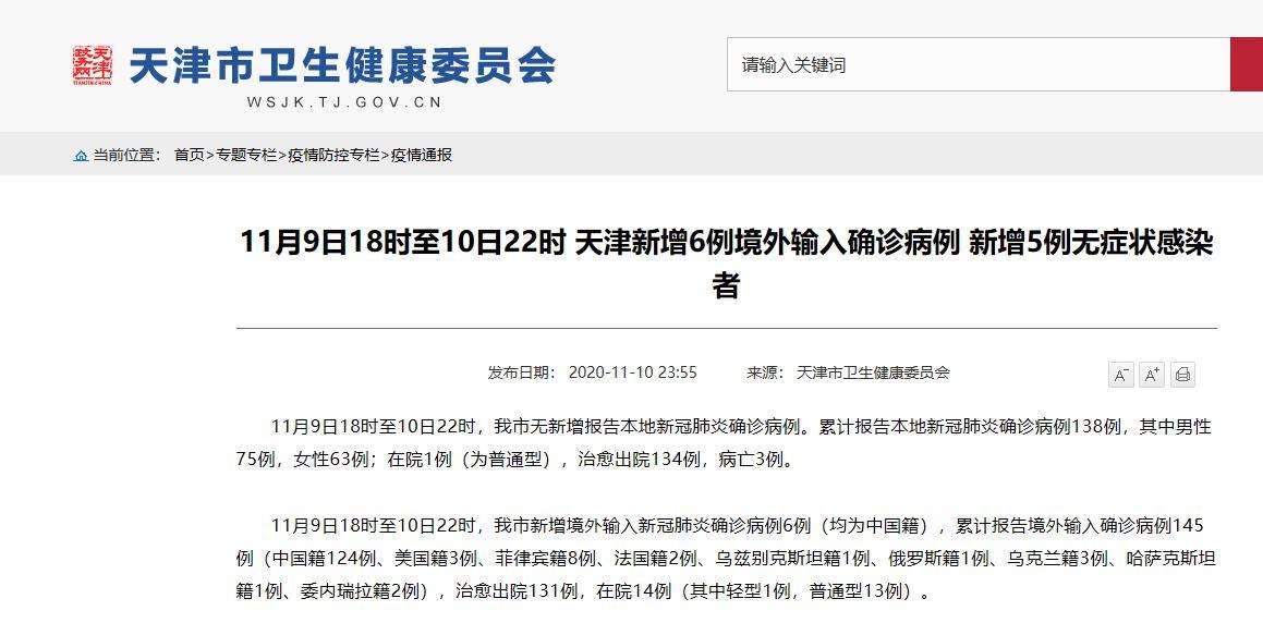 11月9日18时至10日22时 天津新增6例境外输入确诊病例 新增5例无症状感染者