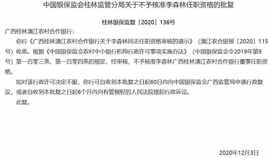 桂林漓江农村合作银行一拟任董事任职被否