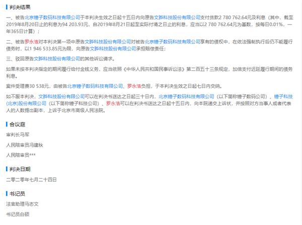 usdt无需实名买入卖出(caibao.it):罗永浩败诉 需赔偿半导体公司278万元 第1张