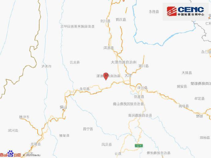 云南大理州漾濞县发生3.2级地震 震源深度11千米