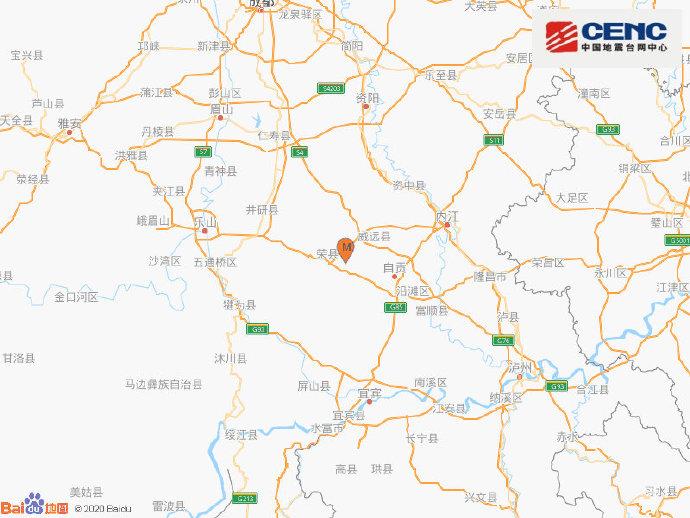 四川自贡市荣县发生3.2级地震 震源深度10千米