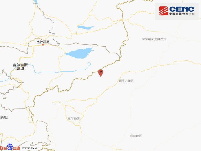 新疆阿克苏地区乌什县发生3.4级地震 震源深度10千米