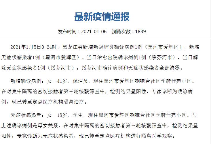 黑龙江新增1例本土确诊详情公布 1月7日黑龙江黑河疫情最新消息今天