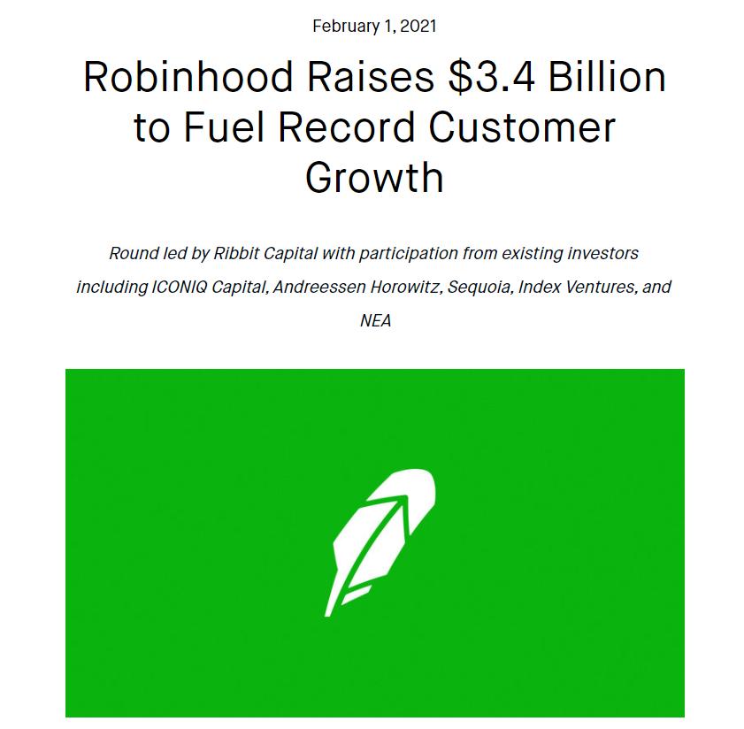 Robinhood在逼空狂潮中筹得34亿美元 有望达到清算押金要求