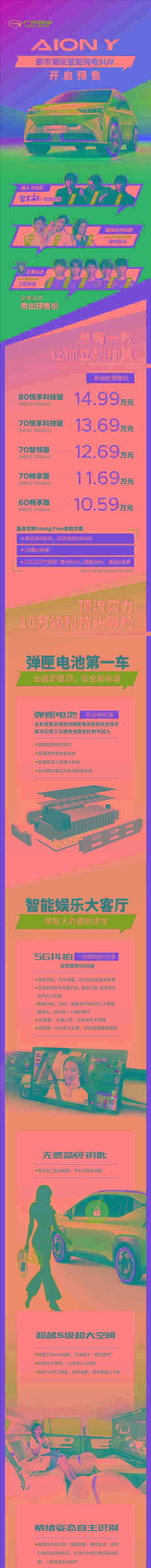 """首搭""""弹匣电池""""针刺不起火!广汽埃安Y开启预售:10.59万起"""