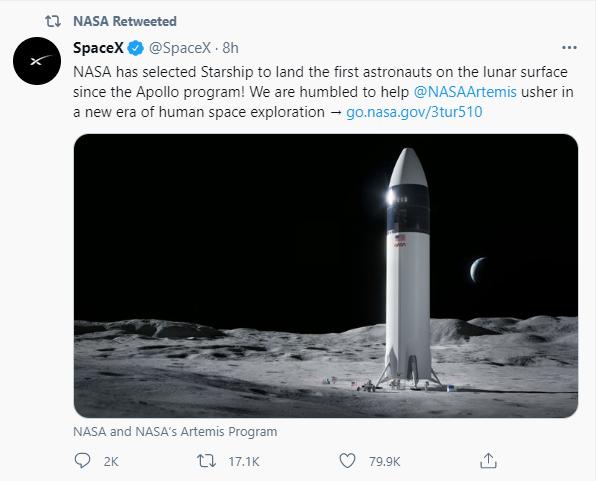 SpaceX中标NASA登月计划:最快2024年载人登月