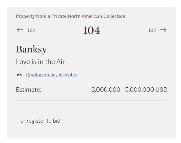 从NFT迈入实体艺术品领域 苏富比宣布班克斯画像拍卖接受加密货币付款