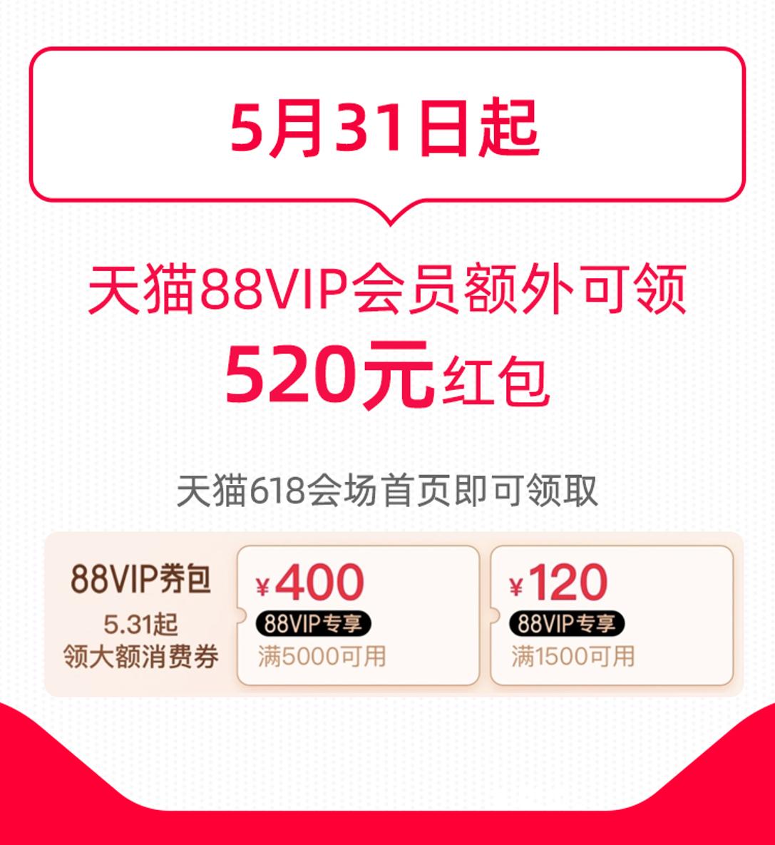 """天猫618""""薅猫毛""""指南:88VIP会员额外享520元红包"""