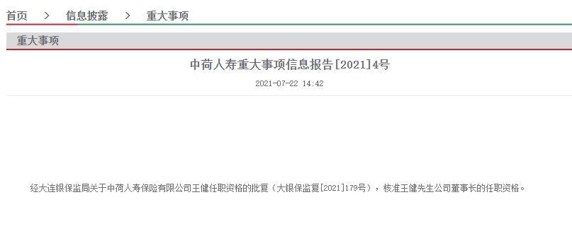 王健获批担任中荷人寿董事长