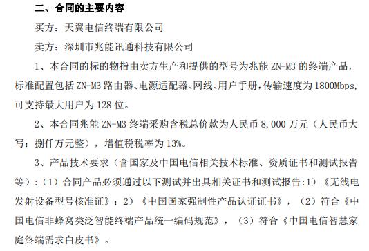 平治信息子公司与天翼电信终端有限公司签订《兆能ZN-M3终端框架采购合同》合同总价款8000万