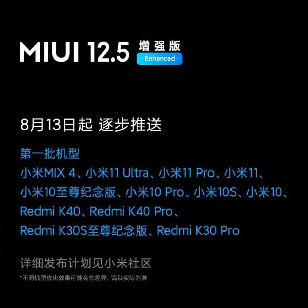 小米MIUI小部件开启内测招募!MIUI 12.5增强版今起推送