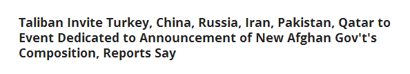 俄媒:塔利班邀请中俄土伊等国参加宣布组建阿富汗新政府活动