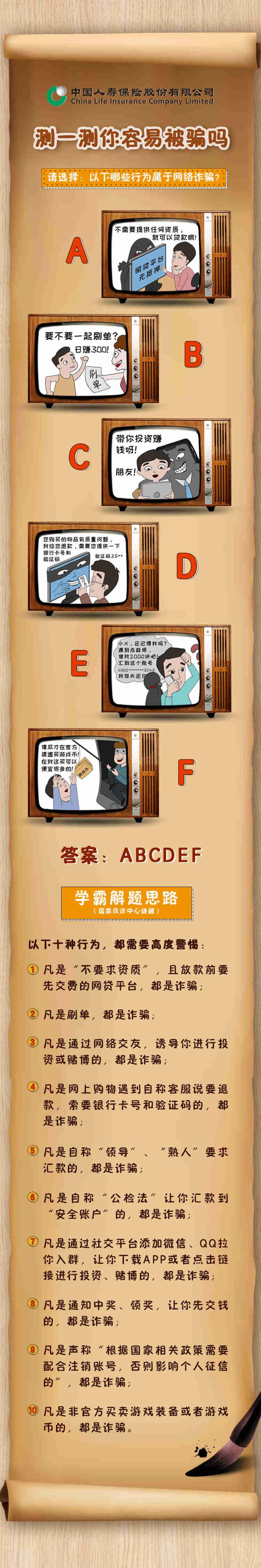 《测测你容易被骗吗?中国人寿邀你辨别电信网络诈骗》